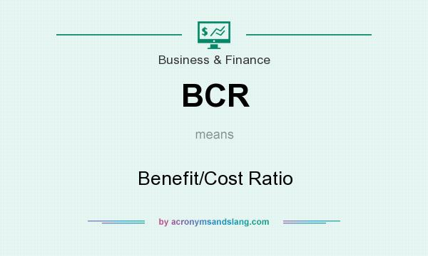 What does BCR mean? It stands for Benefit/Cost Ratio