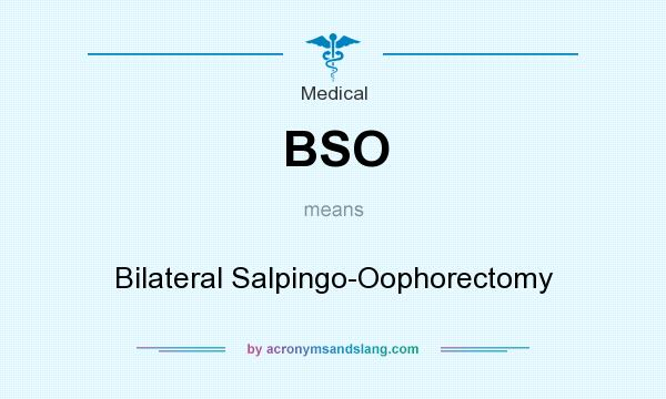 What does BSO mean? It stands for Bilateral Salpingo-Oophorectomy
