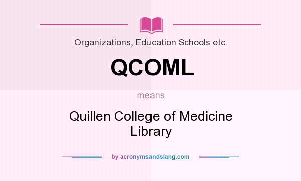 What does QCOML mean? It stands for Quillen College of Medicine Library