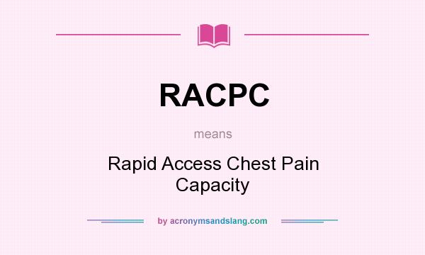 What does RACPC mean? It stands for Rapid Access Chest Pain Capacity