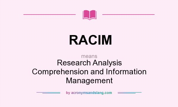 What does RACIM mean? It stands for Research Analysis Comprehension and Information Management