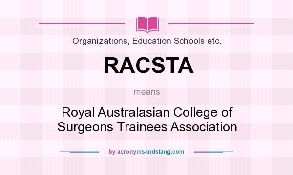 What does RACSTA mean? It stands for Royal Australasian College of Surgeons Trainees Association