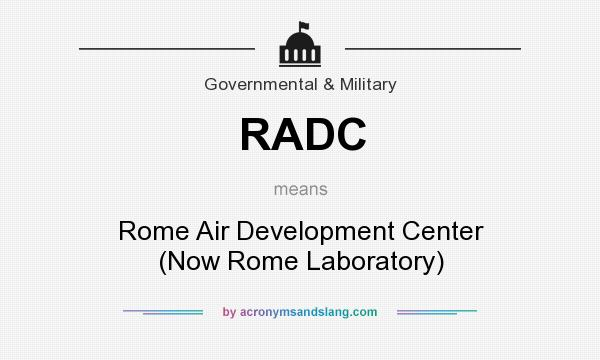 What does RADC mean? It stands for Rome Air Development Center (Now Rome Laboratory)