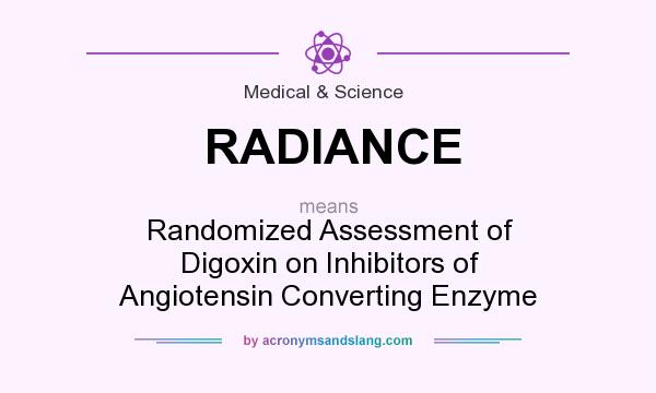 What does RADIANCE mean? It stands for Randomized Assessment of Digoxin on Inhibitors of Angiotensin Converting Enzyme