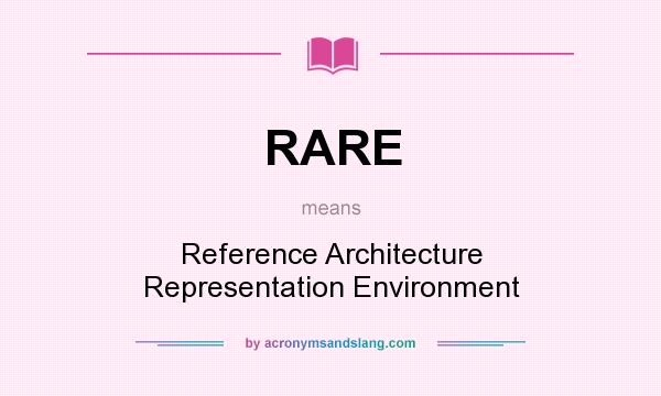 Rare reference architecture representation environment for What does architecture mean