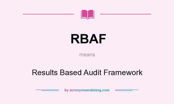 What does RBAF mean? It stands for Results Based Audit Framework