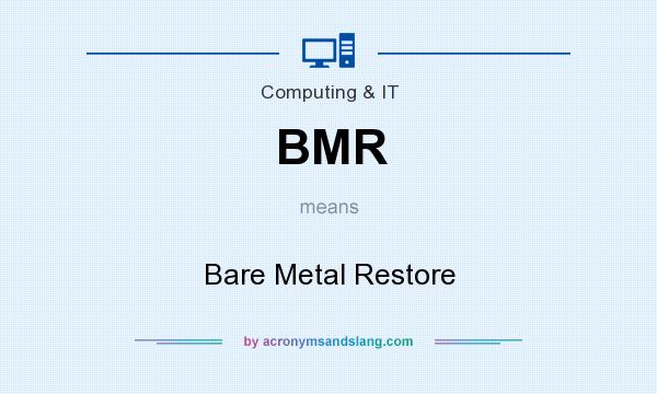 What does BMR mean? It stands for Bare Metal Restore