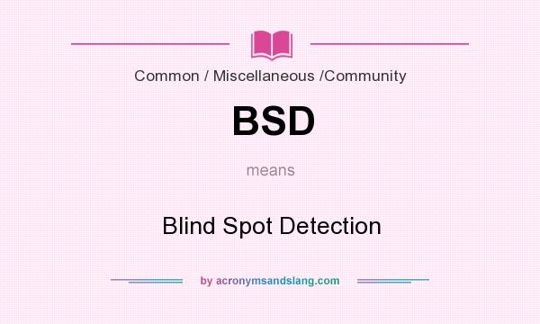What does BSD mean? It stands for Blind Spot Detection