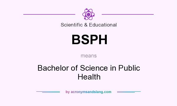 What does BSPH mean? It stands for Bachelor of Science in Public Health