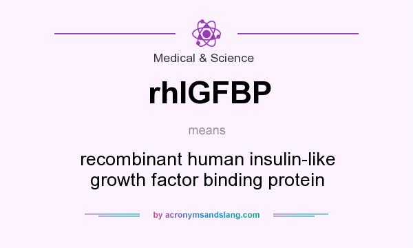 What does rhIGFBP mean? It stands for recombinant human insulin-like growth factor binding protein