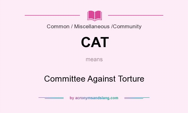 What does CAT mean? It stands for Committee Against Torture