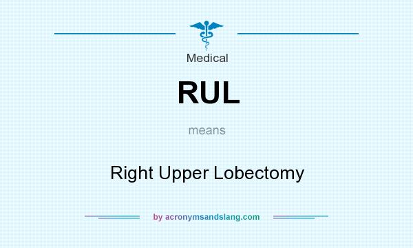 What does RUL mean? It stands for Right Upper Lobectomy