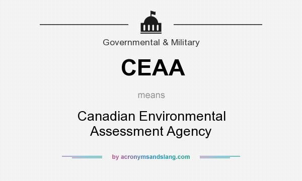 What does CEAA mean? It stands for Canadian Environmental Assessment Agency
