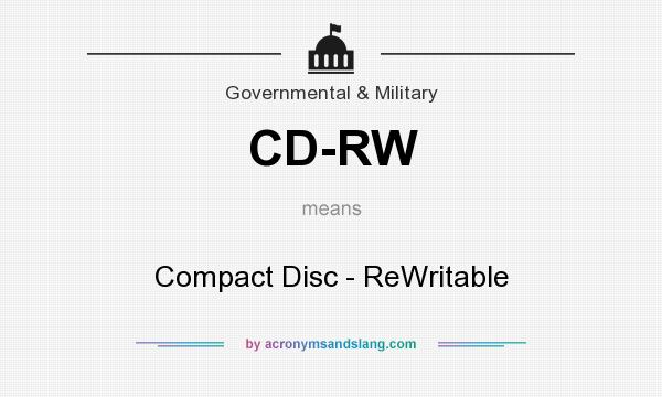 What does CD-RW mean? It stands for Compact Disc - ReWritable