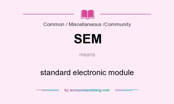 What does SEM mean? It stands for standard electronic module