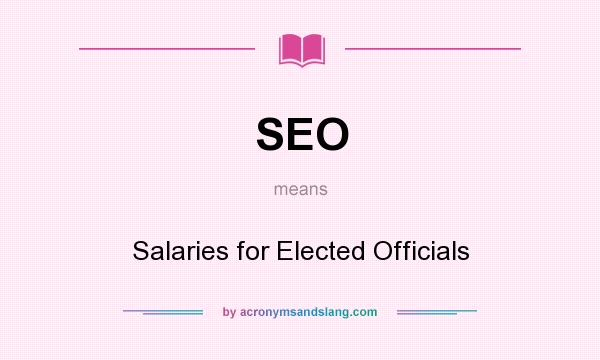 What does SEO mean? It stands for Salaries for Elected Officials