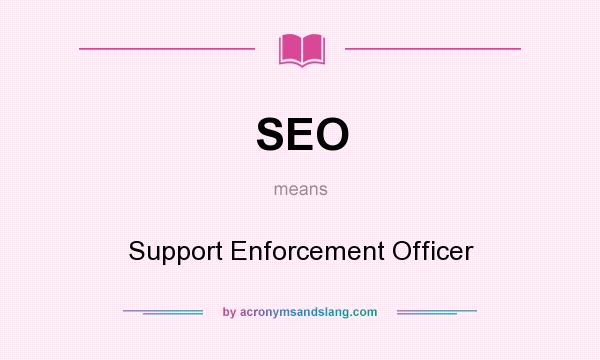 What does SEO mean? It stands for Support Enforcement Officer