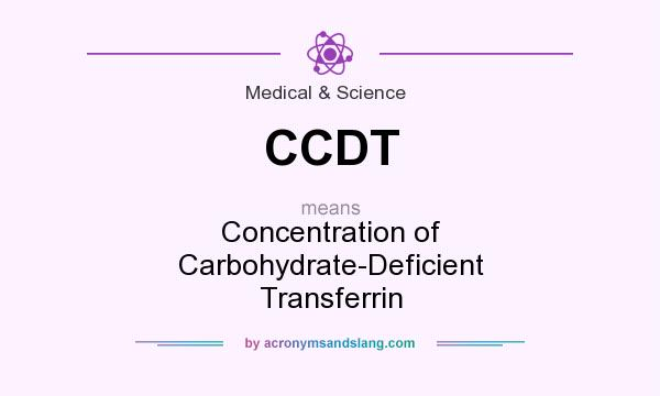What does CCDT mean? It stands for Concentration of Carbohydrate-Deficient Transferrin