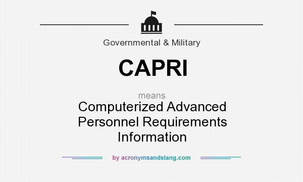 What does CAPRI mean? It stands for Computerized Advanced Personnel Requirements Information