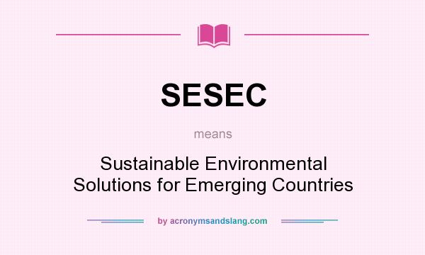 What does SESEC mean? It stands for Sustainable Environmental Solutions for Emerging Countries