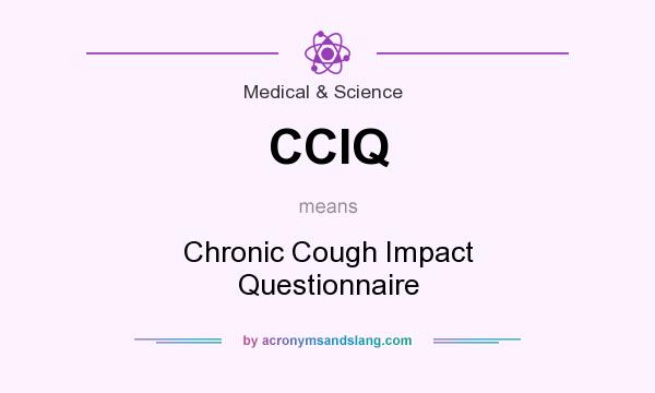 What does CCIQ mean? It stands for Chronic Cough Impact Questionnaire
