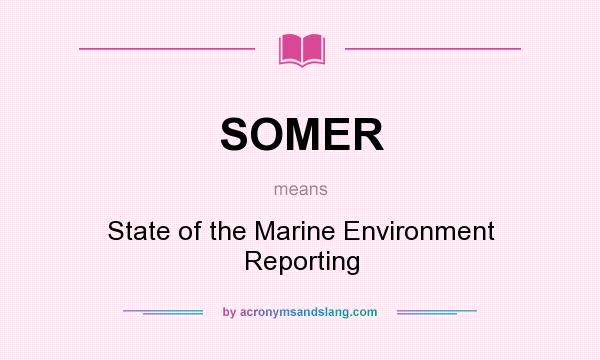 What does SOMER mean? It stands for State of the Marine Environment Reporting