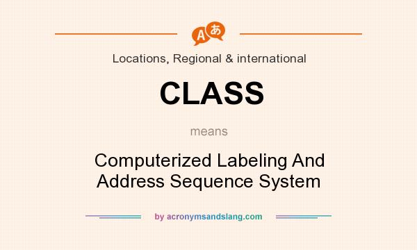 What does CLASS mean? It stands for Computerized Labeling And Address Sequence System