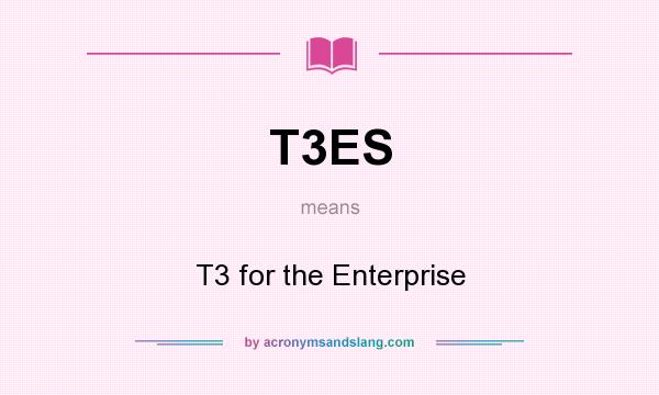 What does T3ES mean? It stands for T3 for the Enterprise