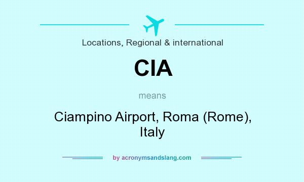 What does CIA mean? It stands for Ciampino Airport, Roma (Rome), Italy