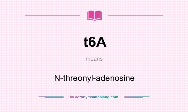 What does t6A mean? It stands for N-threonyl-adenosine