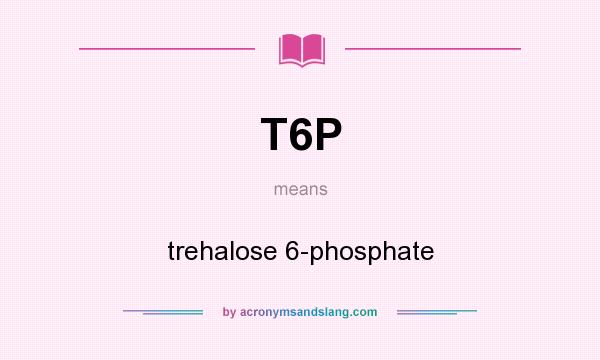 What does T6P mean? It stands for trehalose 6-phosphate