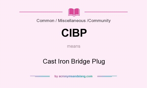 What does CIBP mean? It stands for Cast Iron Bridge Plug