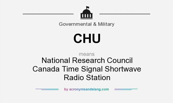 What does CHU mean? It stands for National Research Council Canada Time Signal Shortwave Radio Station