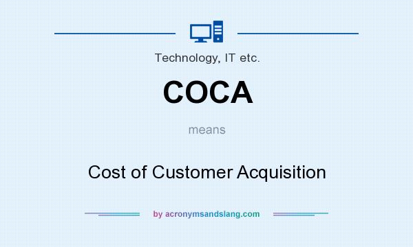 What does COCA mean? It stands for Cost of Customer Acquisition