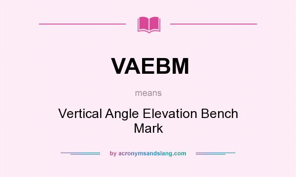 What does VAEBM mean? It stands for Vertical Angle Elevation Bench Mark