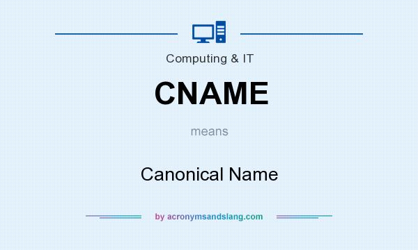 What does CNAME mean? It stands for Canonical Name