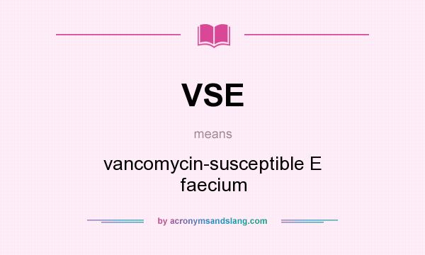 What does VSE mean? It stands for vancomycin-susceptible E faecium