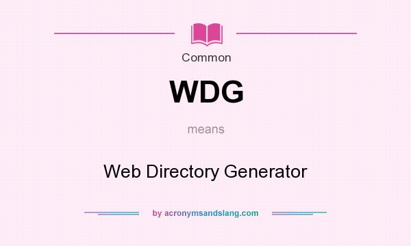 What does WDG mean? It stands for Web Directory Generator