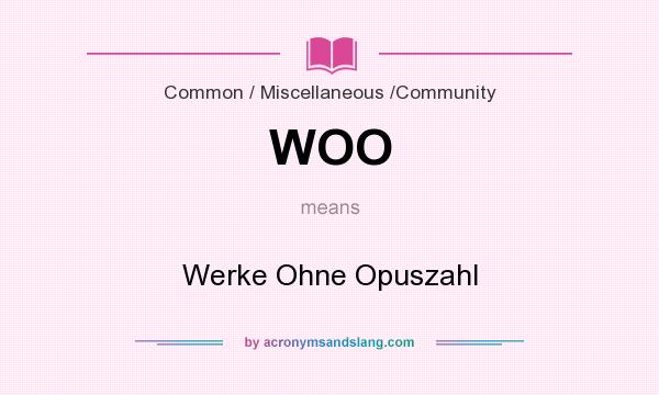 What does WOO mean? It stands for Werke Ohne Opuszahl