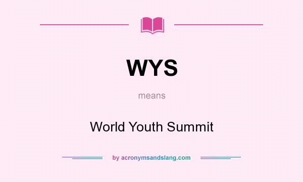 What does WYS mean? It stands for World Youth Summit