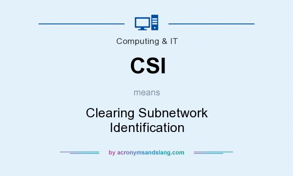 What does CSI mean? It stands for Clearing Subnetwork Identification