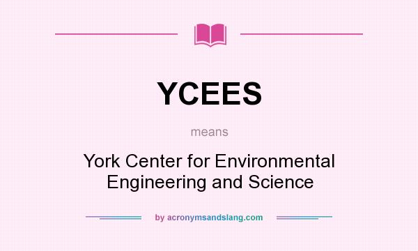 What does YCEES mean? It stands for York Center for Environmental Engineering and Science