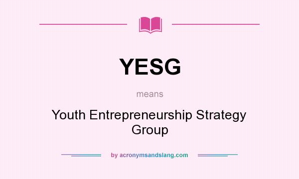 What does YESG mean? It stands for Youth Entrepreneurship Strategy Group