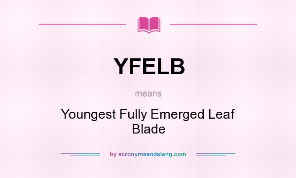 What does YFELB mean? It stands for Youngest Fully Emerged Leaf Blade