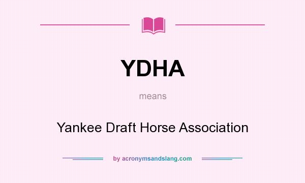 What does YDHA mean? It stands for Yankee Draft Horse Association