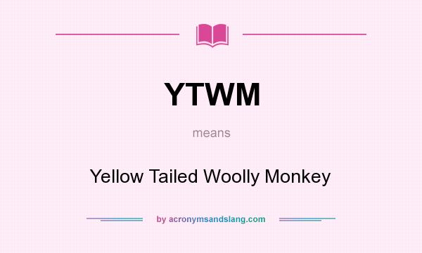 What does YTWM mean? It stands for Yellow Tailed Woolly Monkey