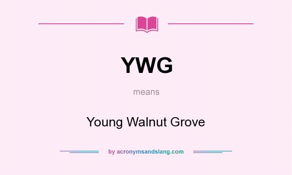 What does YWG mean? It stands for Young Walnut Grove