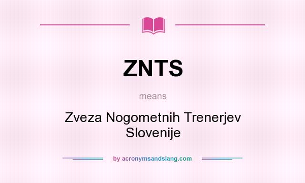 What does ZNTS mean? It stands for Zveza Nogometnih Trenerjev Slovenije