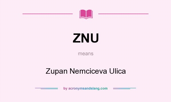 What does ZNU mean? It stands for Zupan Nemciceva Ulica