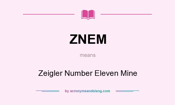 What does ZNEM mean? It stands for Zeigler Number Eleven Mine
